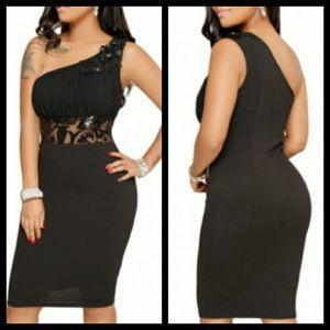 Black One Shoulder Embroidered Dress